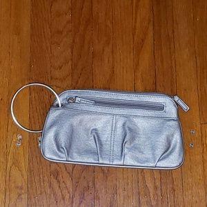 Xhilaration Bags - Metallic silver wristlet clutch purse EUC
